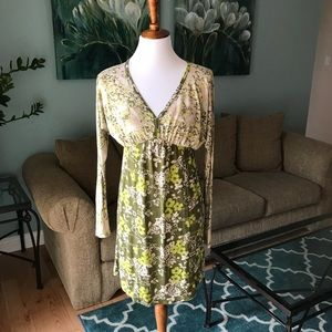 Maternity green and cream long sleeve floral dress